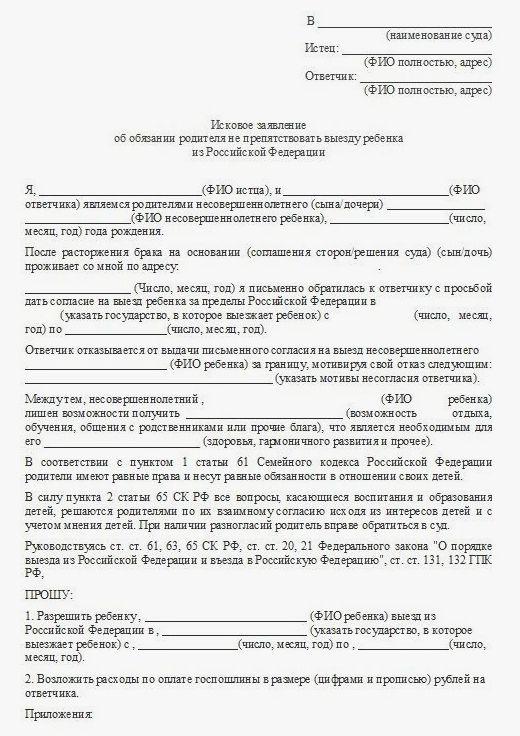 Образец заявления в суд об ограничении выезда за границу водительских прав