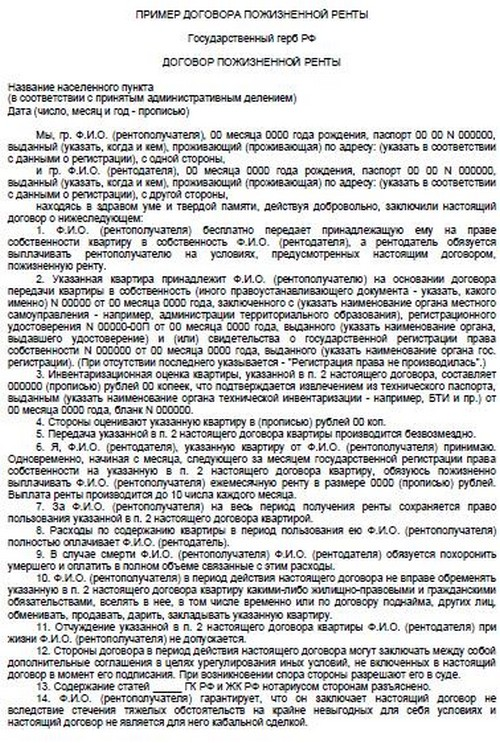 Договор пожизненной ренты образец